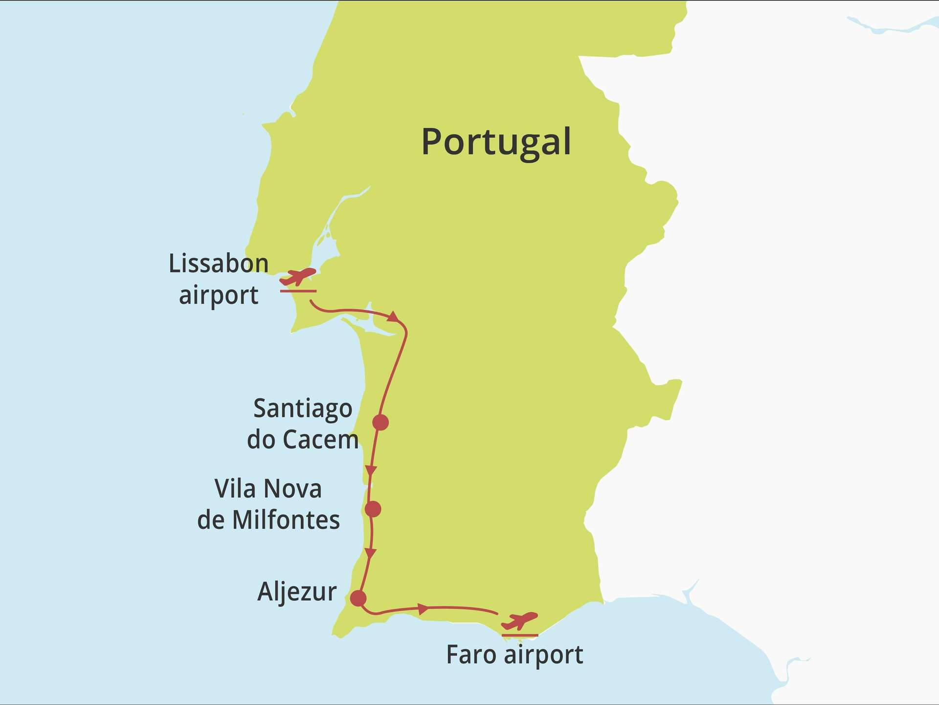 Fly-drive Costa Vicentina (hotels) 8 dagen